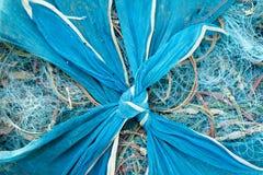 Rede azul do pescador Foto de Stock Royalty Free