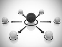 A rede conceptual das esferas 3d rende Imagem de Stock