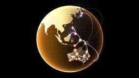 Rede crescente através do globo ilustração do vetor
