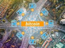 Rede da corrente de bloco, Bitcoin, dinheiro de Digitas fotografia de stock royalty free