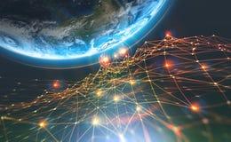 Rede da corrente de bloco e terra do planeta Inteligência artificial Banco de dados descentralizado global imagem de stock