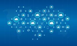 Rede da nuvem do cyber da tecnologia e fundo da conexão ilustração royalty free