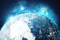 rede da rendição 3D e de intercâmbio de dados sobre a terra do planeta no espaço Linhas da conexão em torno do globo da terra glo Foto de Stock