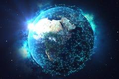 rede da rendição 3D e de intercâmbio de dados sobre a terra do planeta no espaço Linhas da conexão em torno do globo da terra Nas ilustração do vetor