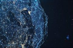 rede da rendição 3D e de intercâmbio de dados sobre a terra do planeta no espaço Linhas da conexão em torno do globo da terra glo ilustração royalty free