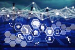 Rede da tecnologia no conceito da construção, conexão de rede da construção do ícone com a relação virtual da tela moderna com fi imagem de stock