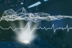 Rede da tecnologia no conceito médico da medicina, conexão de rede médica do ícone com a relação virtual da tela moderna com mes  fotos de stock royalty free