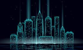 Rede de arame poligonal esperta da cidade 3D Conceito inteligente do negócio do sistema de automatização de construção Textura da ilustração royalty free