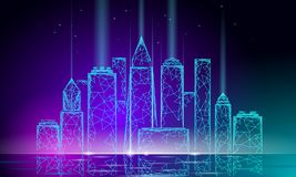 Rede de arame poligonal esperta da cidade 3D do fulgor de néon Conceito inteligente do negócio do sistema de automatização de con ilustração stock