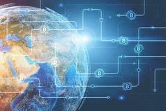 Rede de Bitcoin contra a terra do planeta ilustração royalty free