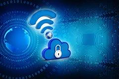 Rede de computação da nuvem isolada no fundo da tecnologia 3d rendem Foto de Stock Royalty Free