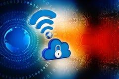 Rede de computação da nuvem isolada no fundo da tecnologia 3d rendem Fotografia de Stock Royalty Free
