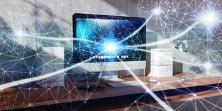 Rede de incandescência de flutuação do ponto na rendição do desktop 3D Foto de Stock