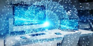 Rede de incandescência de flutuação do ponto na rendição do desktop 3D Foto de Stock Royalty Free
