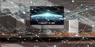 Rede de incandescência de flutuação do ponto na rendição do desktop 3D Fotografia de Stock