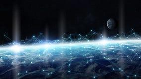Rede de intercâmbio de dados e global sobre a rendição do mundo 3D Foto de Stock Royalty Free