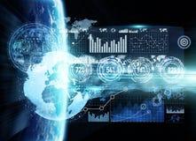Rede de intercâmbio de dados e global sobre a rendição do mundo 3D Imagens de Stock