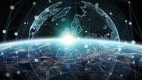 Rede de intercâmbio de dados e global sobre a rendição do mundo 3D Imagens de Stock Royalty Free