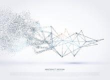 Rede de malha poli do wireframe abstrato que desvanece-se na partícula ilustração royalty free