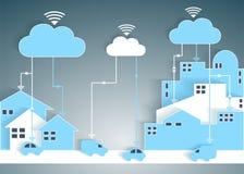 Rede de papel de computação da cidade e do subúrbio do entalhe da nuvem Fotografia de Stock Royalty Free