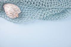 Rede de pesca e escudos grandes do mar Copie o espaço imagem de stock