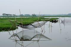 Rede de pesca tradicional em 3Sul da Ásia imagens de stock