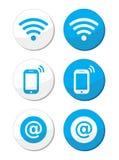 Rede de Wifi, grupo de etiquetas azul da zona do Internet -   Fotos de Stock