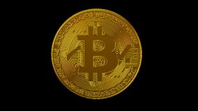 Rede digital da criptografia da moeda cripto do blockchain de Bitcoin para o dinheiro do mundo, canal alfa video estoque