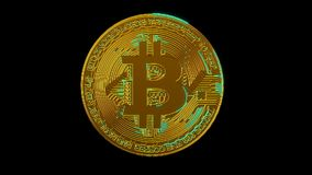 Rede digital da criptografia da moeda cripto do blockchain de Bitcoin para o dinheiro do mundo, canal alfa vídeos de arquivo