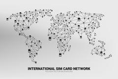A rede do cartão do sim do polígono do vetor conecta a linha à forma do mapa do mundo ilustração do vetor
