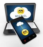 Rede do portátil e da nuvem do telefone celular Imagem de Stock Royalty Free