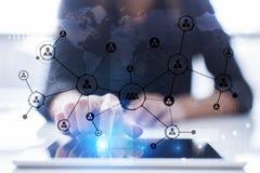 Rede do Social da estrutura dos ícones dos povos Hora Gestão de recursos humanos Imagem de Stock