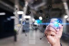 Rede do Social da estrutura dos ícones dos povos Hora Gestão de recursos humanos Internet do negócio e conceito da tecnologia Fotos de Stock Royalty Free