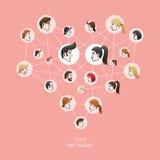 Rede do social do amor Imagens de Stock
