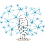 Rede do social do homem de negócios Fotos de Stock