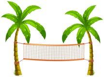 Rede do voleibol em árvores de coco ilustração stock
