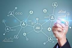 Rede dos povos Estrutura de organização Hora Media sociais Conceito do Internet e da tecnologia fotos de stock