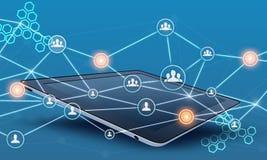 A rede dos trabalhos de equipa da tabuleta e dos povos conecta a linha Foto de Stock