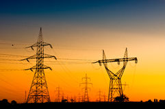 Rede elétrica da transmissão de energia Foto de Stock Royalty Free