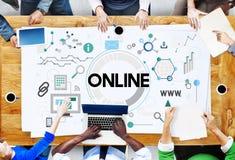 Rede em linha que compartilha do conceito de sistema de WWW Imagens de Stock Royalty Free