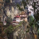 Rede för Taktsang tiger` s, dentagande dragningen i Bhutan Arkivbild