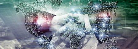 Rede global da exposição dobro do mapa do mundo Telecomunicação, Internet internacional do negócio e conceito da tecnologia fotos de stock royalty free