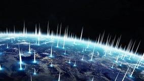 A rede global e as trocas de dados sobre a terra 3D do planeta arrancam Imagens de Stock