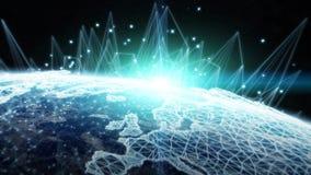 A rede global e as trocas de dados sobre a terra 3D do planeta arrancam Imagens de Stock Royalty Free
