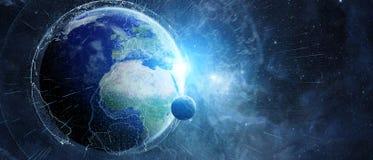 A rede global e as trocas de dados sobre a terra 3D do planeta arrancam Imagem de Stock