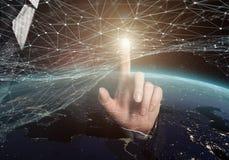 Rede global elementos da rendição 3D desta imagem fornecidos pela NASA Foto de Stock
