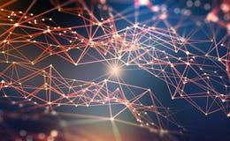 Rede global Ilustração de Blockchain 3D Redes neurais e inteligência artificial Conceito do Cyberspace ilustração do vetor
