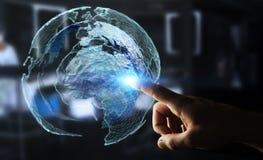 Rede global tocante do homem de negócios na rendição da terra 3D do planeta Imagens de Stock