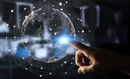 Rede global tocante do homem de negócios na rendição da terra 3D do planeta Fotografia de Stock Royalty Free