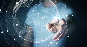 Rede global tocante do homem de negócios na rendição da terra 3D do planeta Fotos de Stock Royalty Free